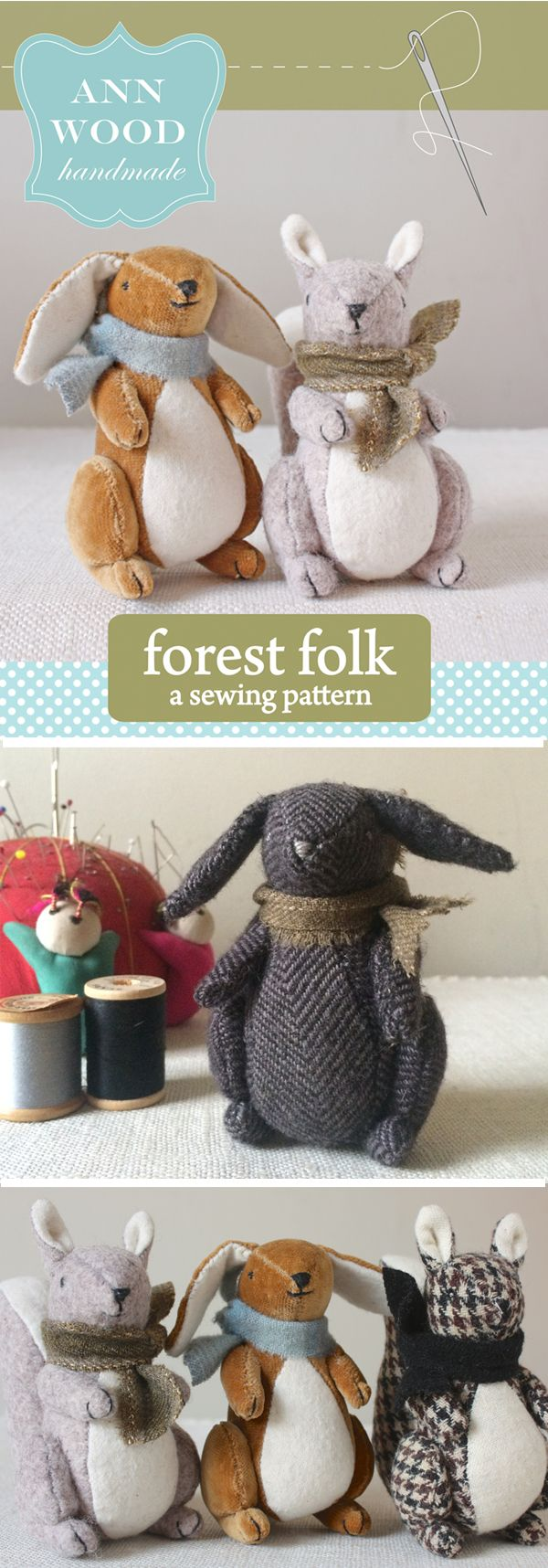 The forest folk pattern is in the shop. Little creatures that fit in the palm of your hand  | Ann Wood