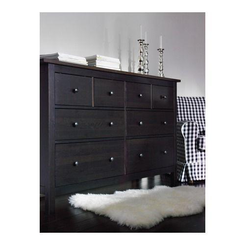 HEMNES 8-drawer dresser, black-brown