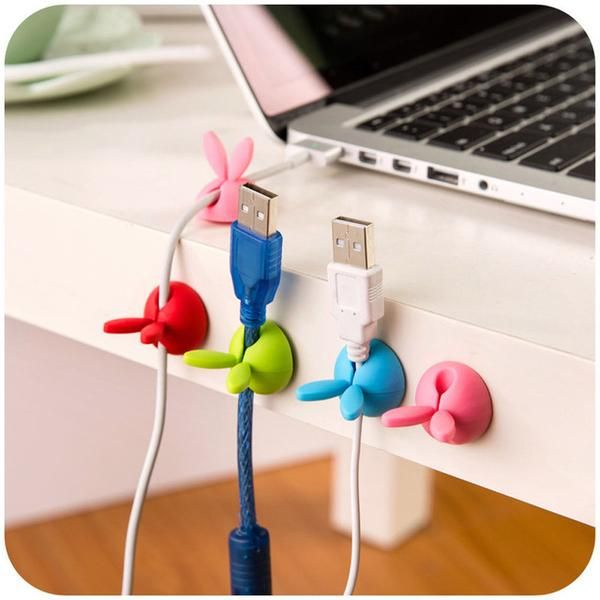 4pcs Cable Organizer Creative Cable Holder Wire Winder for Wire Headset Earphone