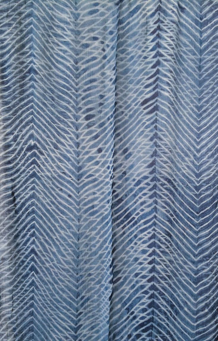 Aranya Naturals 100% Silk Scarf - Silk Chiffon - Arashi Shibori Technique dyed with Indigo Available at www.theyarntree.com
