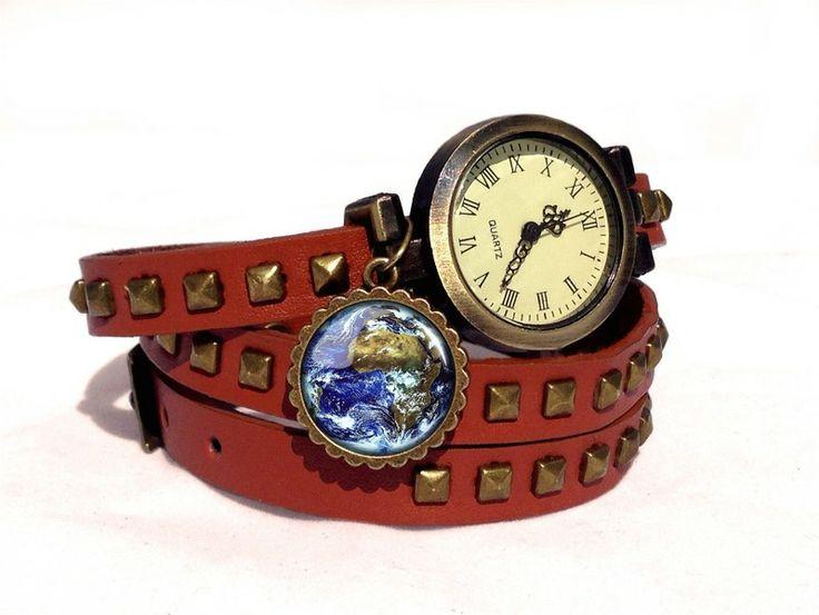 Leather watch bracelet - Earth, 0104WLBC from EgginEgg by DaWanda.com
