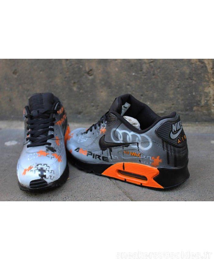 new concept 37b71 fc31e Nike Air Max 90 Personnalisé peint Gris Noir Orange Trainer