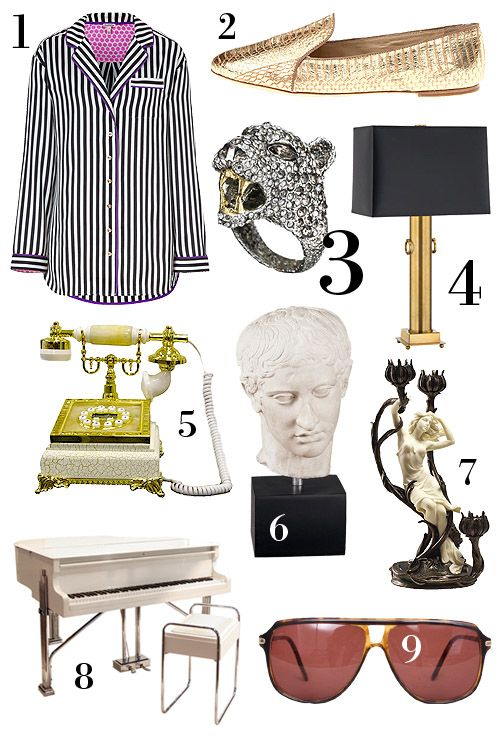 Get your Liberace On  :  1. Black & White Lounge Shirt | 2. Gold Slippers | 3. Alexis Bittar Jaguar Ring | 4. Black & Gold Table Lamp | 5. Ivory Old-Fashioned Telephone | 6. Roman Portrait Bust | 7. Art Nouveau Candelabra | 8. Antique Art Deco Piano | 9. Sunglasses