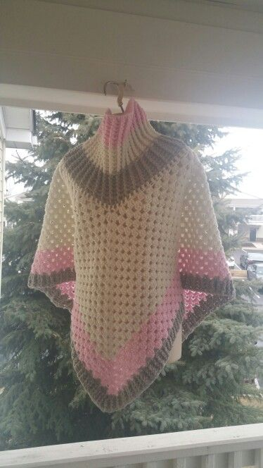 Hot Off My Hook! Project: Cowl Neck Poncho Started: 31 Jan 2016 Completed:  02 Feb 2016 Model: Madge the Mannequin Crochet Hook(s): 7mm, Cowl portion, K, Granny Stitch portion Yarn: Big Twists Yarn Red Heart With Love Color(s): Blush Pink, Eggshell, Soft Gray Pattern Source: Simply Crochet Magazine, Issue No. 25 (Hard Copy) Pattern Designed By: Simone Francis Notes: This is my 73rd Cowl-Neck Poncho and the 1st time I've used Big Twists Yarn in one.