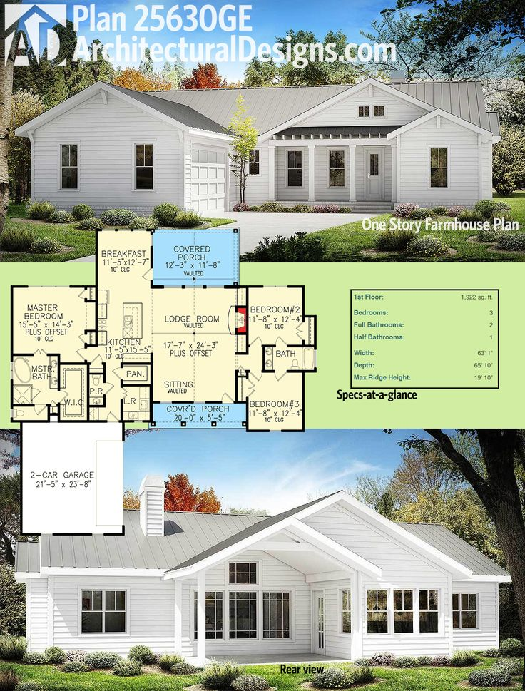Architectural Designs One Story Modern Farmhouse Plan 25630GE gives you 3 beds and over 1,900 square feet of heated living. Ready when you are. Where do YOU want to build?