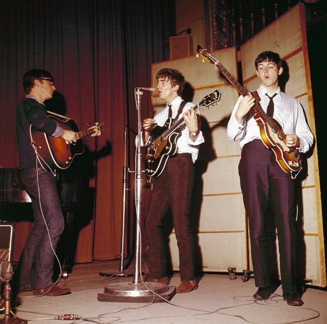 The Beatles rehearse together at Playhouse Theatre, May 21, 1963