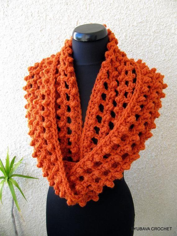 Crochet Infinity Orange Scarf