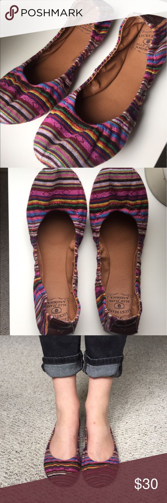 Lucky Brand Ballet Flats Barely worn Lucky Brand Multi Colored Ballet Flats. Very comfortable and versatile. Lucky Brand Shoes Flats & Loafers