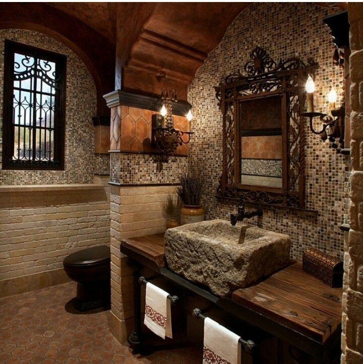 bagno in legno e pietra AR   chantal   Mediterranean bathroom ...