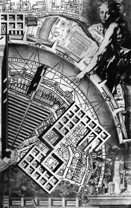 ALDO ROSSI, THE ANALOGOUS CITY, COLLAGE, 1977