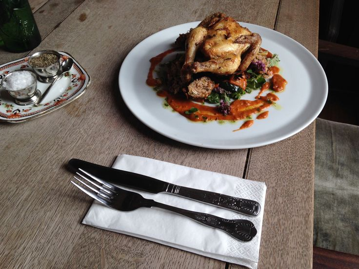 The Parlour's poussin with chargrilled vegetables and tomato sauce, made using aubergines and tomatoes from Brook House Farm on the Fylde and courgettes from Glebelands City Growers in Sale