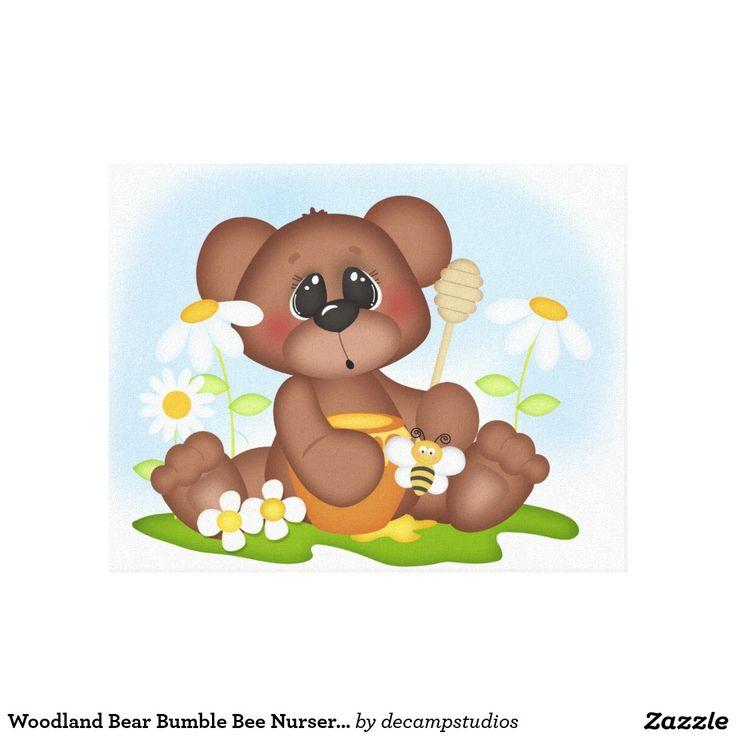 Woodland Bear Bumble Bee Baby Nursery Wall Art Canvas Print Decampstudios