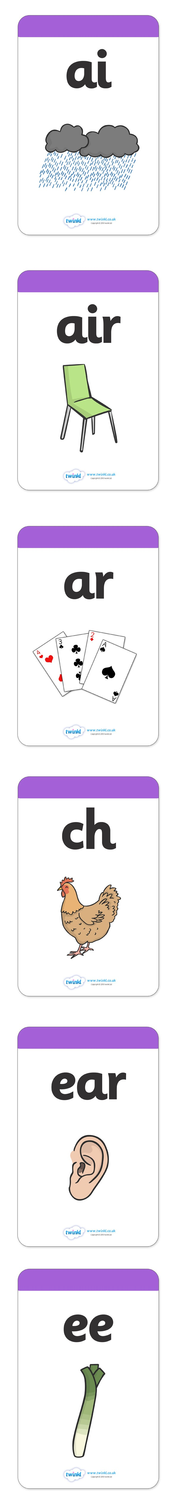 Large Phase 3 Mnemonic Word / Image Cards  - Pop over to our site at www.twinkl.co.uk and check out our lovely Letters and Sounds primary teaching resources! letters and sounds, phonics, phase 3, sound cards, mneumonics #literacy_resources #letters_and_sounds