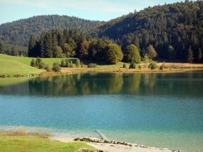 Le lac Genin (Ain) Blotti au coeur du massif du Jura, dans une clairière entourée de sapins et d'épicéas, le lac Genin, classé site naturel, est surnommé le petit Canada du Haut-Bugey. Situé à 831 mètres d'altitude, sur les communes de Charix, d'Échallon et d'Oyonnax, ce plan d'eau, d'une superficie de 8 hectares, forme un superbe ensemble, avec ses paysages préservés alentours propices à la balade. Il est possible de s'y baigner l'été.