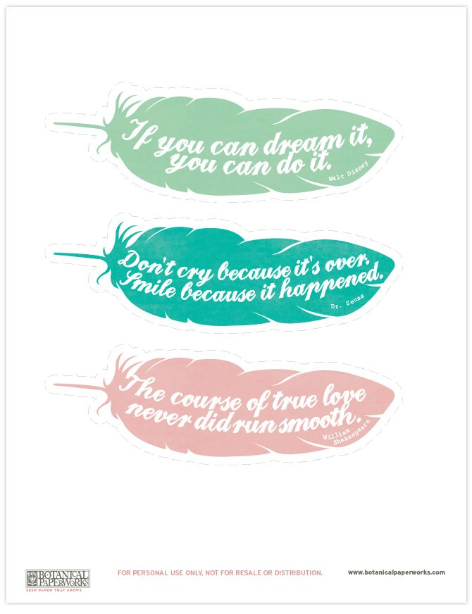 {free printable} Feather Quote Bookmarks | Blog | Botanical PaperWorks