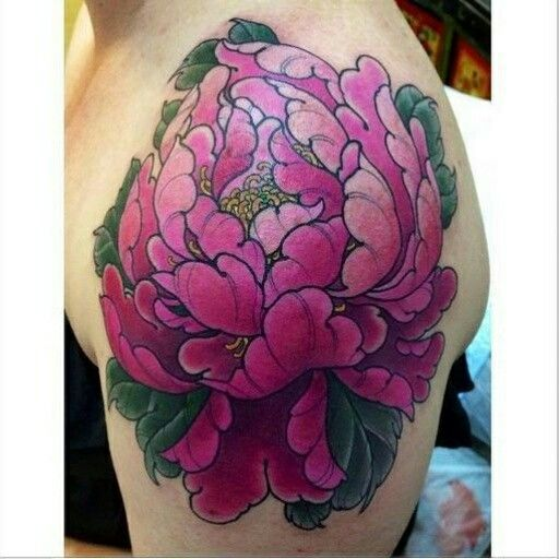 "Shoulder Peony Tattoo By Ryan ""Maverick"" Reeve @ Progression Tattoo, Adelaide South Australia"