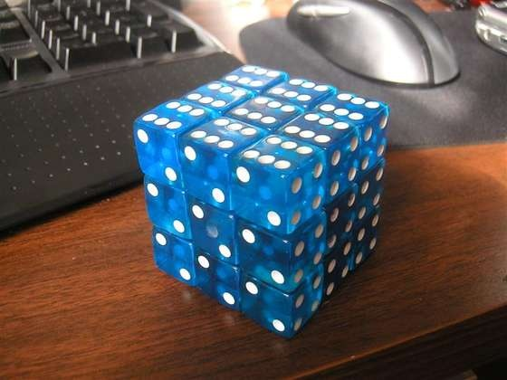 rubik's cube made out of dice
