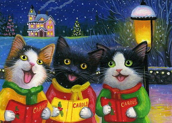 Kittens cat Christmas caroling house snow lamp holiday OE aceo print art #Miniature