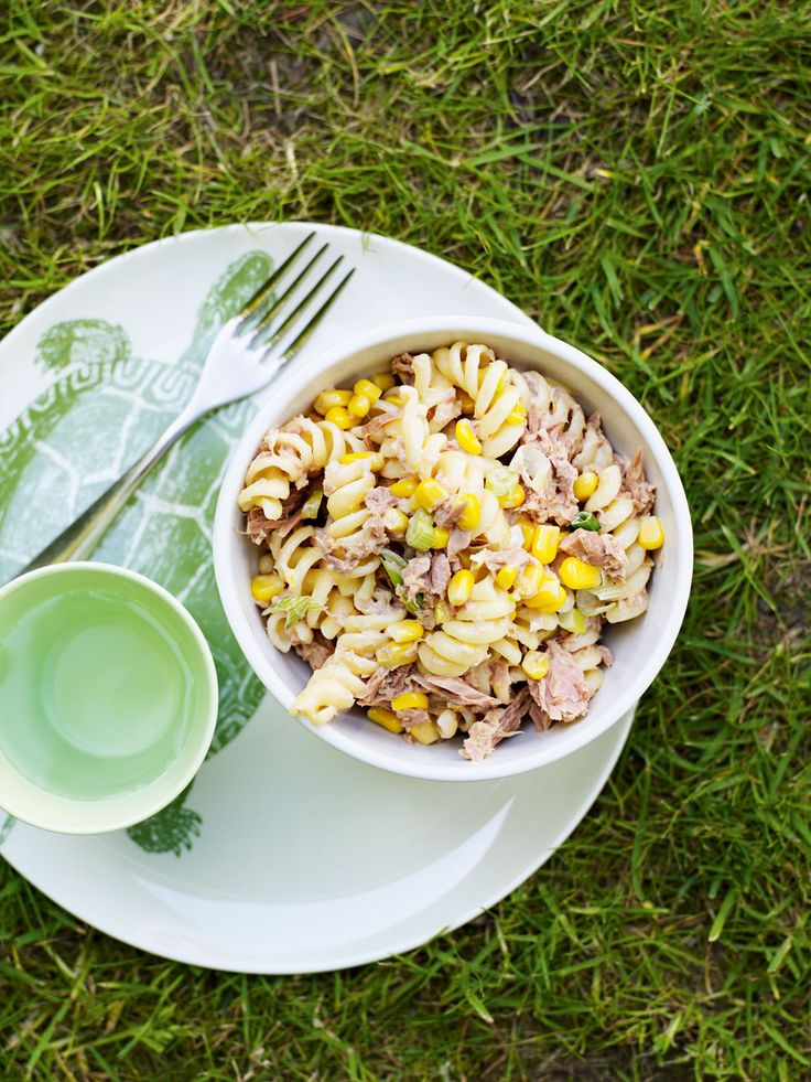 This tuna pasta recipe is so easy, made with spring onions, sweetcorn and mayonnaise, it serves four and is ready in just 30 minutes.