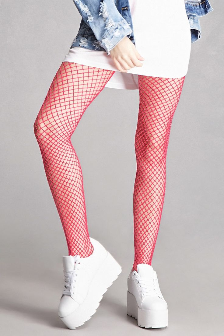 A pair of fishnet tights by Leg Avenue™ featuring a neon pink color, and an elasticized waist.