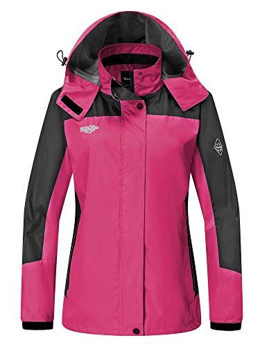 5007e50b2ca9d Wantdo Women s Hooded Waterproof Rain Jacket Windproof Outerwear Travel  Windbreaker Jacket Spring Jacket Pink XX-