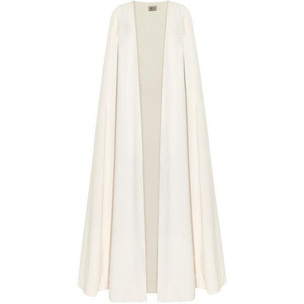 La Mania Toga long crepe cape ($1,587) ❤ liked on Polyvore featuring outerwear, coats, cream, cream shrug, white shrug cardigan, cape coat, white cape coat and shrug cardigan