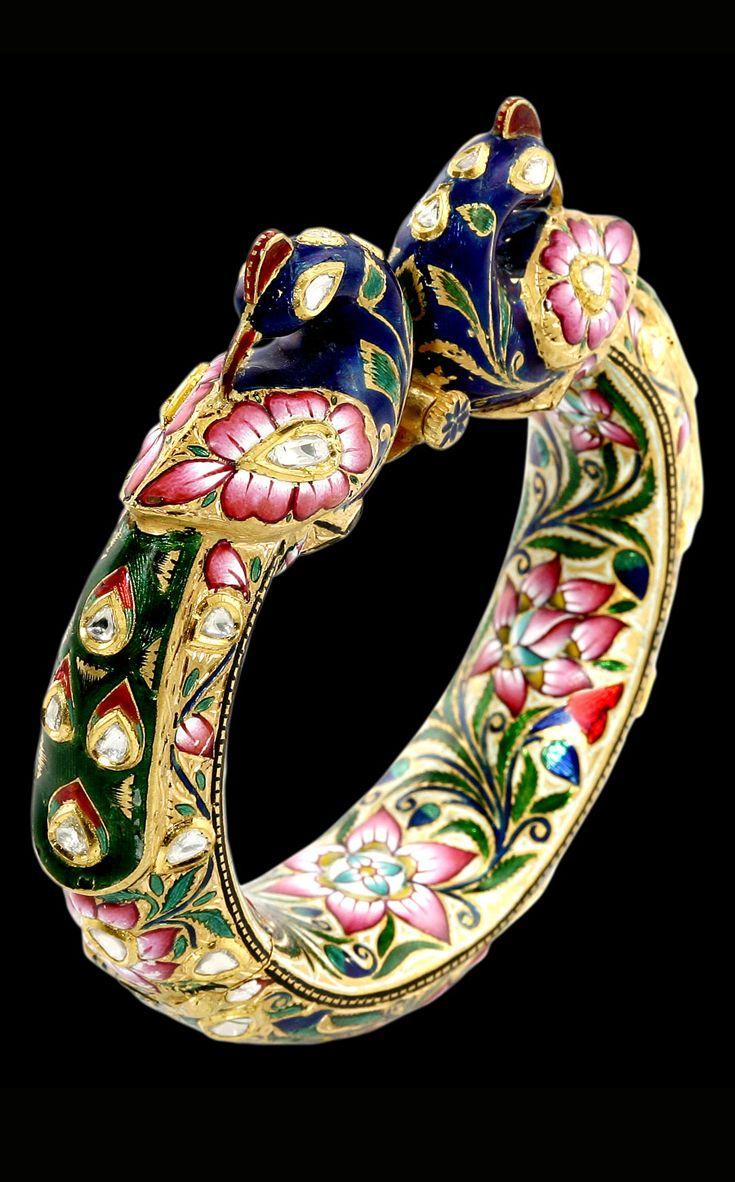 Bangle | Sunita Shekhawat.   Sunita has taken a fresh approach to the traditional art of 'kundan meena' or enamelling, on 22k gold.