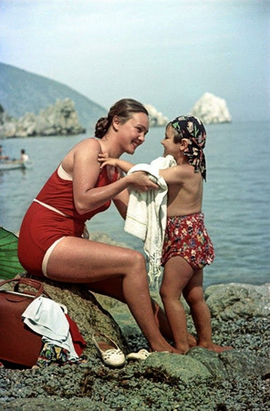 """""""Valentina from Siberia with her daughter, in Crimea"""" 1954 (Crimea was Russian at the time)."""