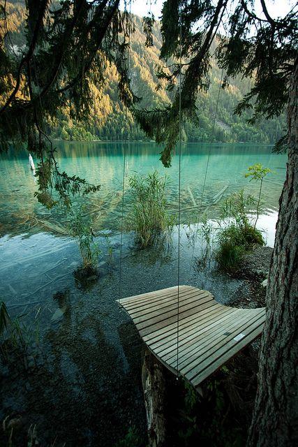 A swing at Weissensee, Carinthia / Austria (byAdam Raczynski).