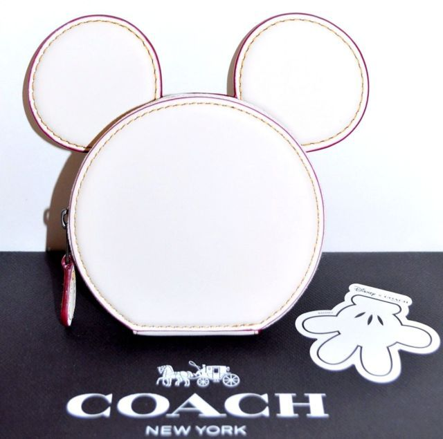 COACH X DISNEY Limited Edition MICKEY MOUSE Ears Leather Coin Purse Case NWT | eBay