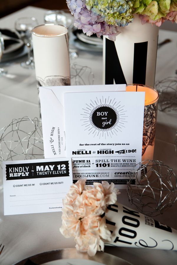 Weddings don't always have to follow a vintage look & feel... Loving this black & white mod wedding design!
