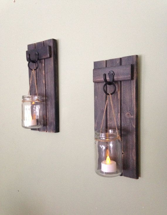 Wooden Candle Holder, Rustic Wall Sconce, Mason Jar Candle Holder,Wooden Wall…
