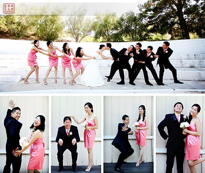 Cute poses. I like the bridesmaids with the groomsmen pairs each in their own picture.
