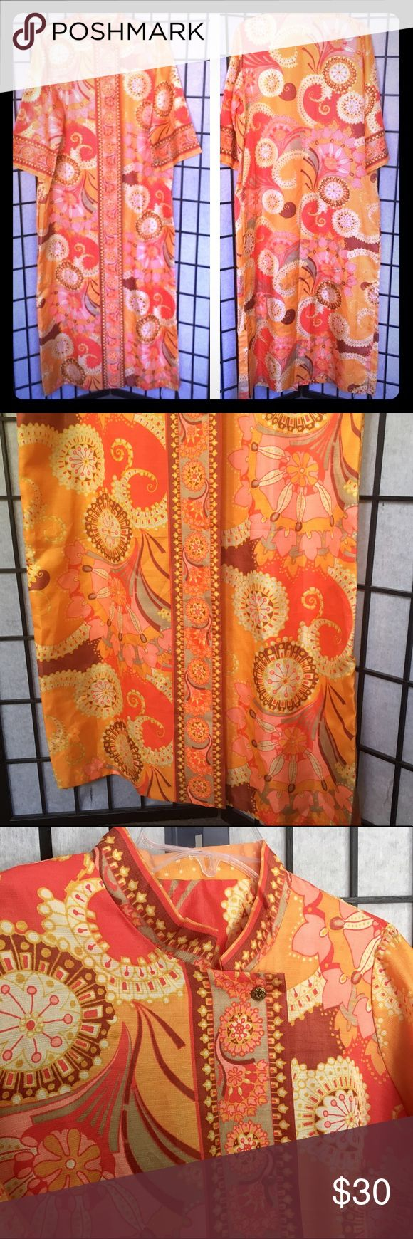 """Vintage 1960's Duster long cover up dress Multi Colored 1960's Vintage Button up Long Dress with 3/4 sleeves very light weight and great for traveling.  Size 18  In excellent condition :FB  Approx. Laying flat: Sleeve length: 17""""                             Armpit to Armpit: 23.5"""" Shoulder to Bottom Hem: 57.5""""  Feel free to ask any questions. Sorry No trades, no modeling. Check out the other items in my closet. Bundles are 20% off 3 + items.  I consider all offers!   Happy POSHING!! no brand…"""