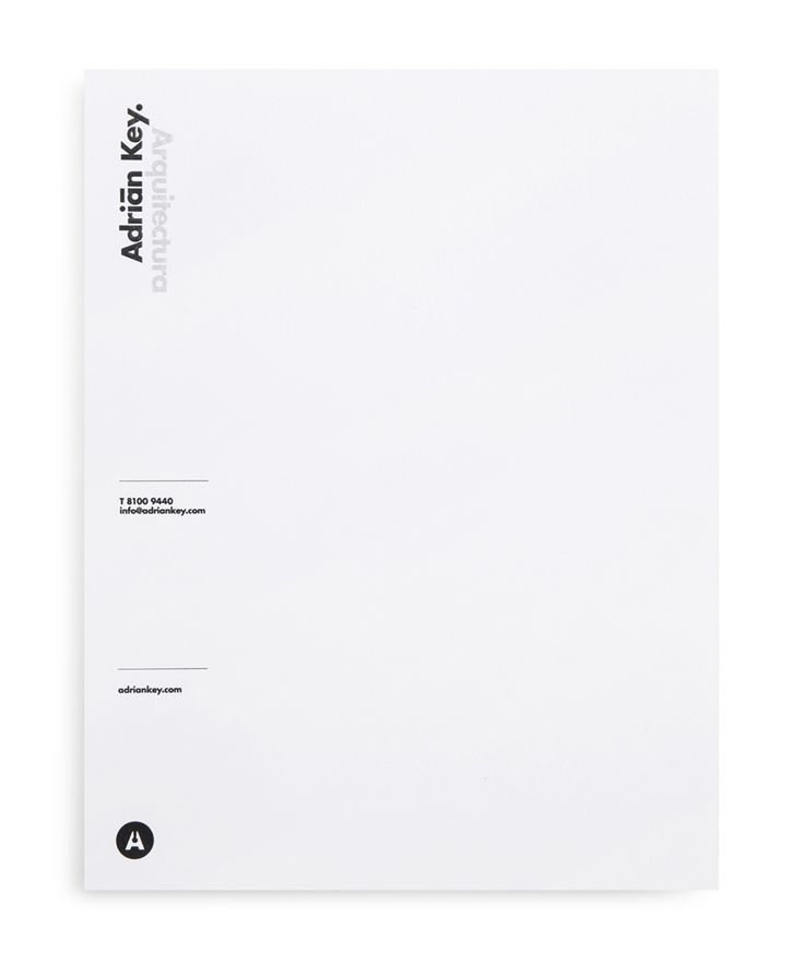 Letterhead with thermographic ink and silver foil detail designed by Face Creative for MX architecture firm and architect Adrián Key