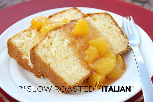 The Slow Roasted Italian: Simple Butter Cake with Peach Sauce