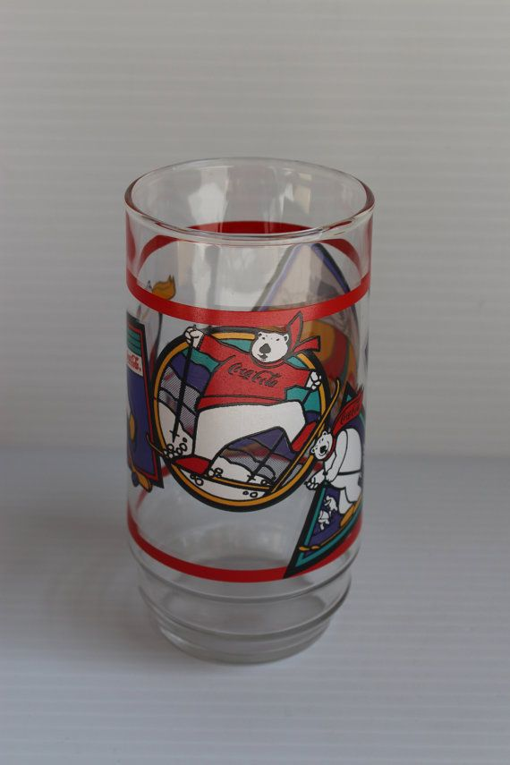COKE Polar Bear Olympics Glass, vintage Coca Cola glass, Vintage Olympics memorabilia, skating image,skiing image,bob sled image,collectible