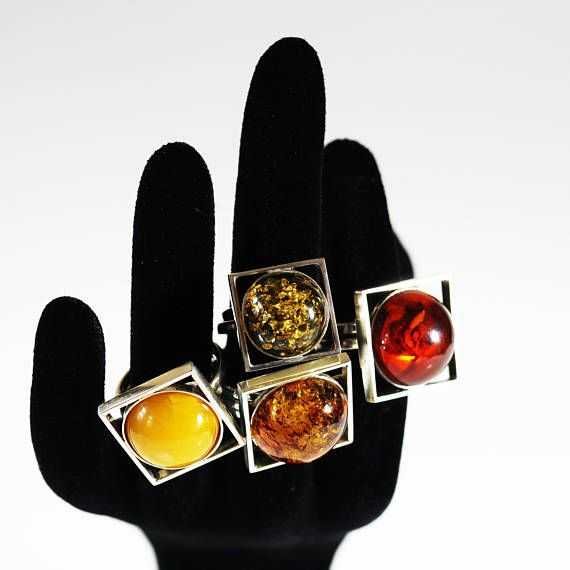 Handmade Silver Baltic Amber ring 8g