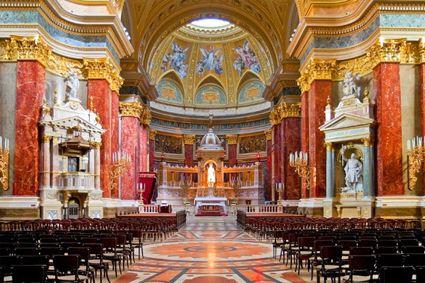 Interior of St. Stephen's Basilica, Budapest.