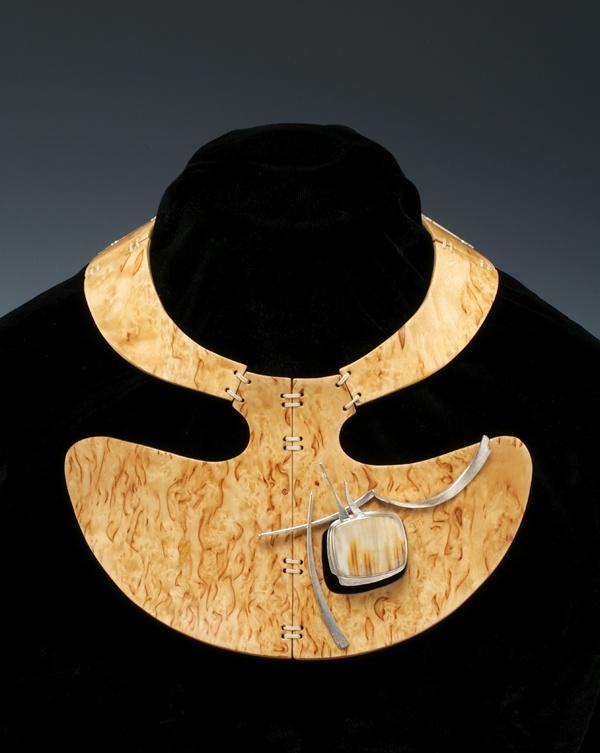 Kristin Mitsu Shiga (in collaboration with Michael de Forest) - Contour Neckpiece (with removable pin) - Carelian birch veneer, leather, petrified Oregon oak, Sterling, 18K gold, diamond.