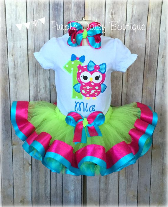 Owl Birthday Ribbon Trim Tutu Outfit  First by PurpleDaisyBoutique