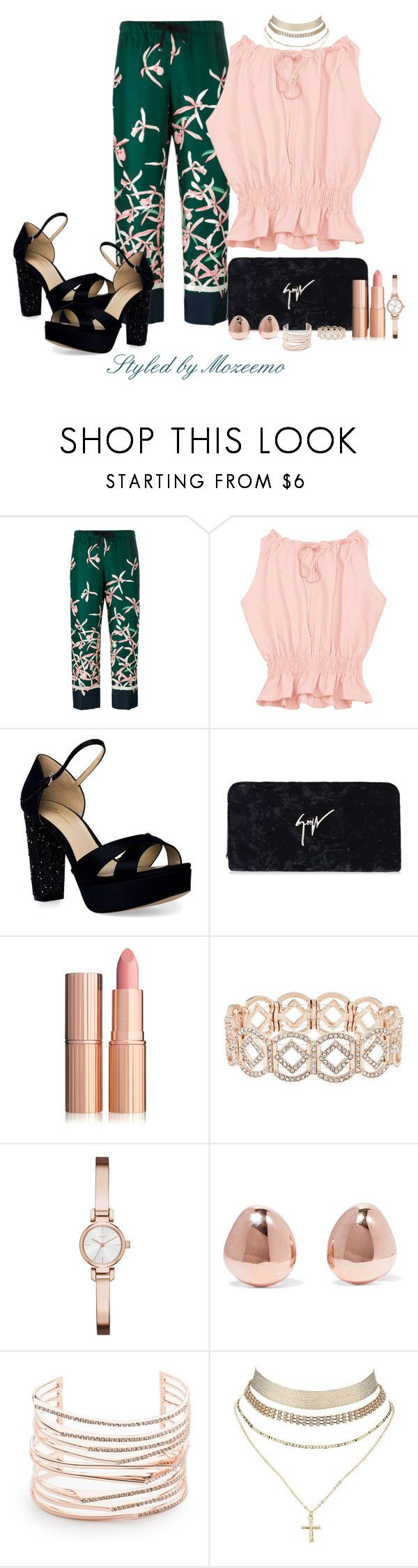 """""""Floral Print Trousers"""" by mozeemo ❤ liked on Polyvore featuring Moncler, JL by Judith Leiber, Giuseppe Zanotti, Accessorize, DKNY, Monica Vinader, Alexis Bittar and Charlotte Russe"""