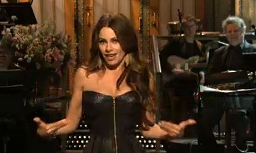 """""""Modern Family's"""" Sofia Vergara's opening """"Saturday Night Live"""" monologue targeted on-TV husband Ed O'Neill, her accent and her breasts."""