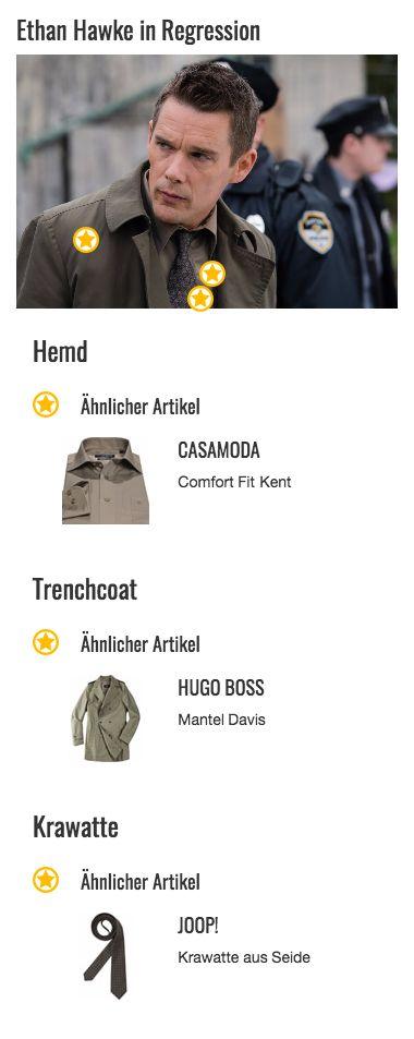 Leider meist unter seinem Mantel versteckt kommt der tolle Farbton von Bruce Kenners (Ethan Hawke) Hemd kaum zur Geltung. Die Mischung aus beige, braun und grau wirkt edel und modern, gleichzeitig fügt sie sich aber auch dezent in das Ensemble des restlichen Outfits ein. Schnitt, Knopfleiste und Hemdkragen sind klassisch-elegant im Kent-Stil und sorgen für ein einfaches Kombinieren, egal ob zur Anzughose oder zur Jeans.