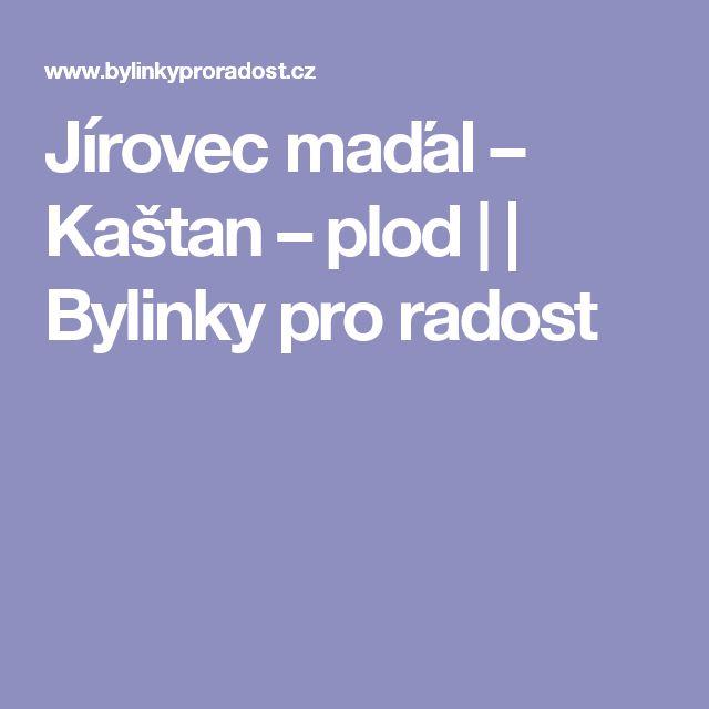 Jírovec maďal – Kaštan – plod | | Bylinky pro radost