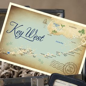 Vintage Map Postcard Save the Date (Key West, FL)