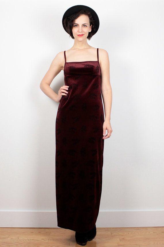 Vintage Burgundy Red Velvet Dress 1990s Dress by ShopTwitchVintage