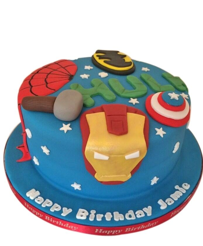 Hover over the Marvel Birthday Cake image to zoom in. Or click on the Marvel Cake picture to see the full size photo