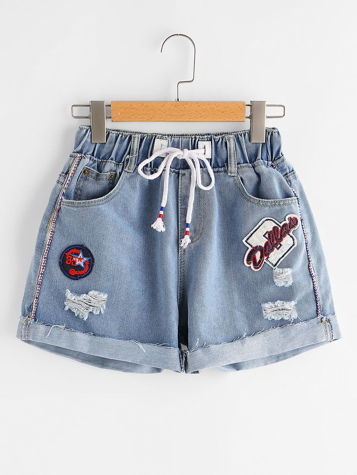Shop Ripped Cuffed Denim Shorts With Embroidered Badges online. SheIn offers Ripped Cuffed Denim Shorts With Embroidered Badges & more to fit your fashionable needs.