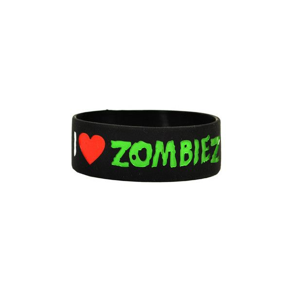 Goodie Two Sleeves I Love Zombies wristband – emo accessories –... ($5.55) ❤ liked on Polyvore